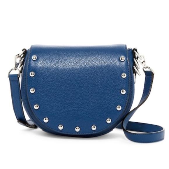 771f7cf35282 Rebecca Minkoff blue studded leather saddle bag